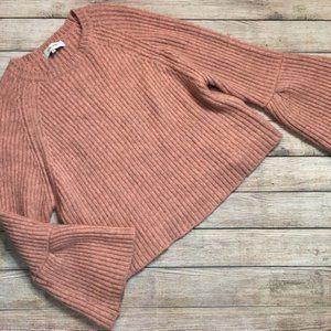 3 / $30! ♡ John + Jen Pink Bell Sleeve Sweater